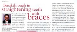 Breakthrough in straightening teeth with braces. (Women's Era, 2009)